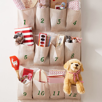 shoe organizer advent calendar hanging on wall