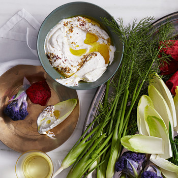 Yogurt Dip with Crudites and Chips