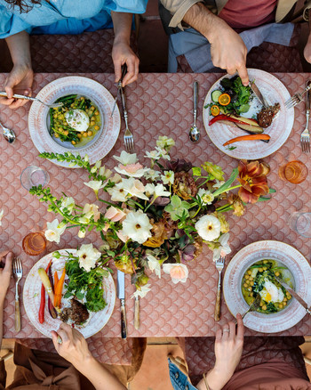 overhead shot of easter brunch table