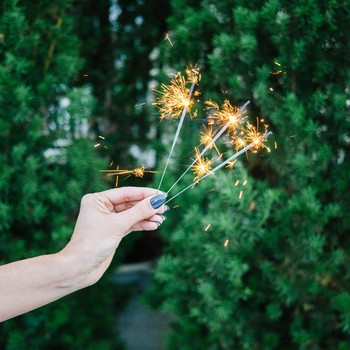 sparklers in hand