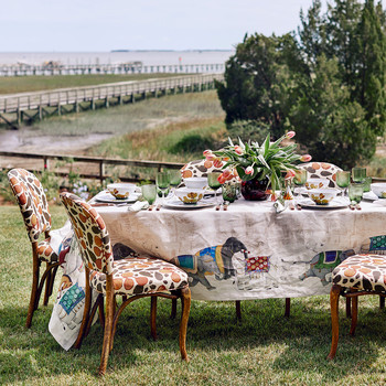 table set up in backyard with beach view