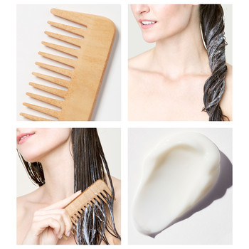 woman conditioning and combing hair collage