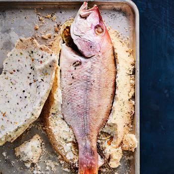 Caribbean-Spiced Salt-Roasted Snapper on sheet pan