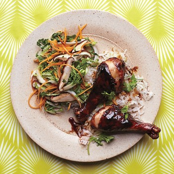 Hoisin-and-Chili-Glazed Chicken Drumsticks with Slaw