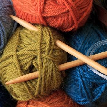 circular knitting needles and yarn