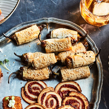 feta stuffed shishitos in phyllo