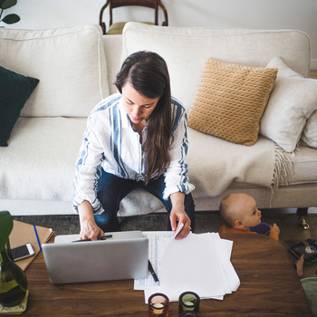 woman working from home on laptop