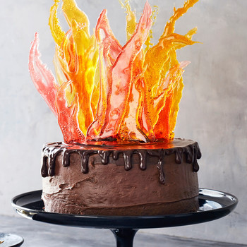 devils inferno cake with sugar flames and ganache