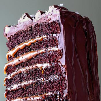 Salted-Caramel Six-Layer Chocolate Cake