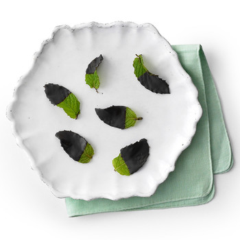 frozen chocolate dipped mint leaves