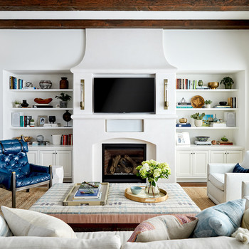 built in bookcases in family room