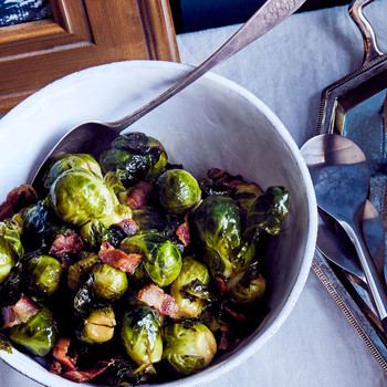 maine thanksgiving brown sugar and bacon glazed brussels sprouts