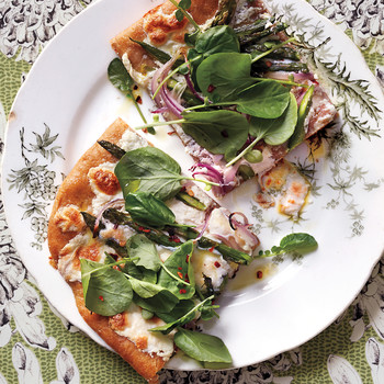 Asparagus and Watercress Pizza