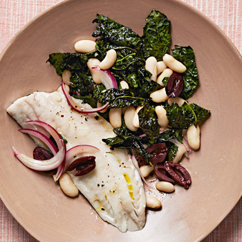 Sea Bass with Kale and Cannellini Beans