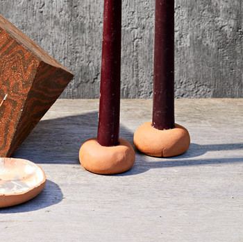 terracotta candlesticks