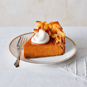 five spice pumpkin pie with phyllo crust