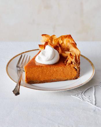 five spice pumpkin pie with phyllo crust