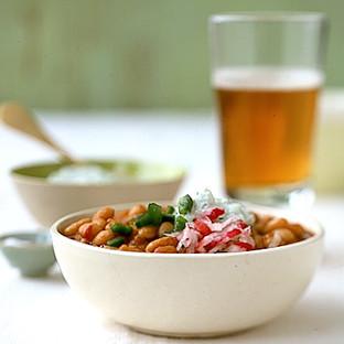 white bean chili with herbed yogurt cheese
