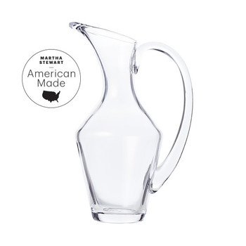 american made simon pearce glass pitcher