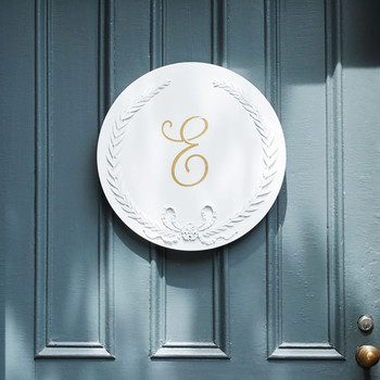 chalk painted white monogram plaque