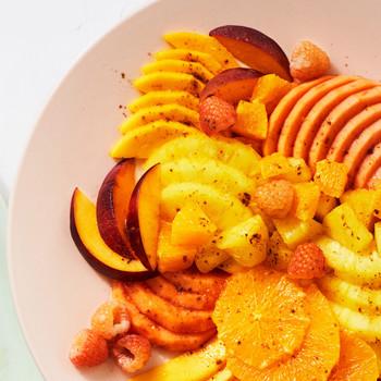 橙汁水果沙拉配五味粉