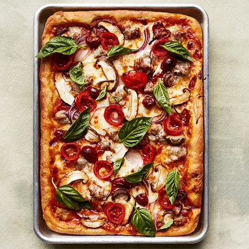 Sausage, Mushroom, and Pickled-Pepper Pizza