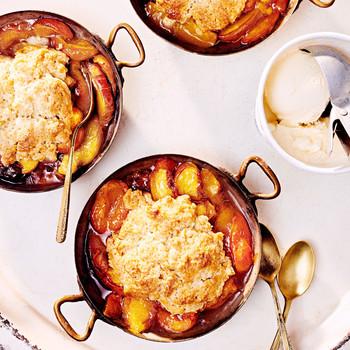 cardamom-scented peach-apricot cobblers