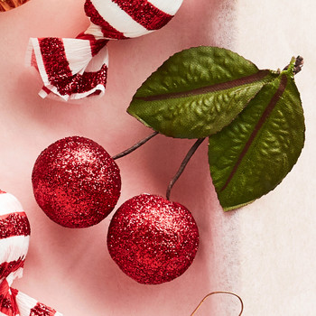 glitter spun cotton cherry ornaments
