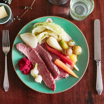 quick brined corned beef and vegetables served on green plate