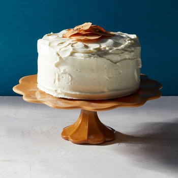 three layer apple cake on cake stand