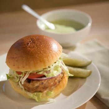 Emeril's Turkey Burgers With Cilantro Mayonnaise