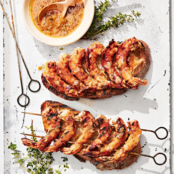 grilled shrimp skewers with orange glaze