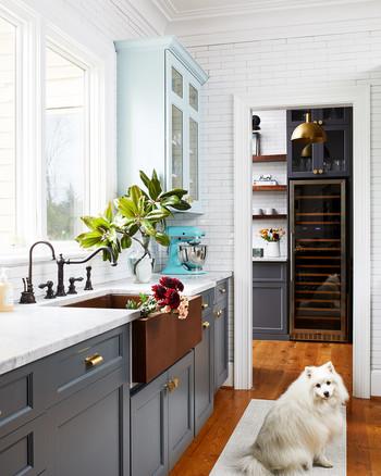 kitchen redo with wine rack and dark farmhouse sink