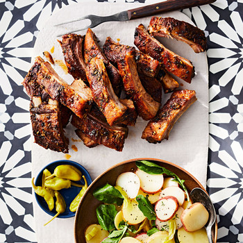 tuscan ribs with balsamic potato salad