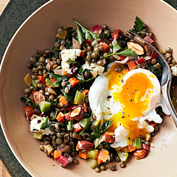 humble beginnings warm lentil salad eggs