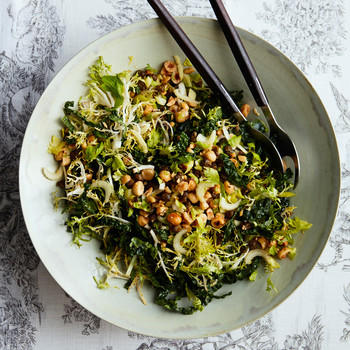 kale-and-frisee salad with sherry vinaigrette atop toile pattern tablecloth