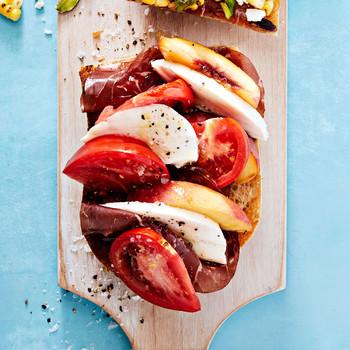 tomato peach mozzarella bresaola tartine