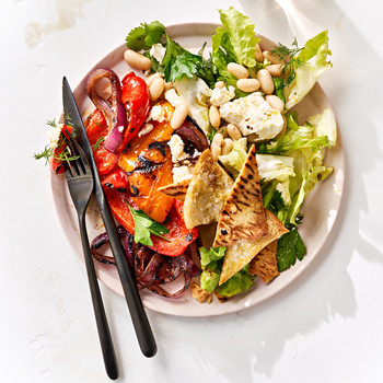 Grilled Vegetables and White-Bean Fattoush