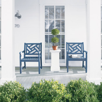 front porch decor blue chairs