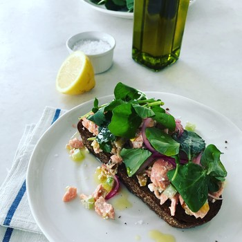 healthy salmon salad with celery and walnuts