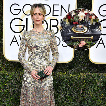 sarah paulson marc jacobs golden globes flowers