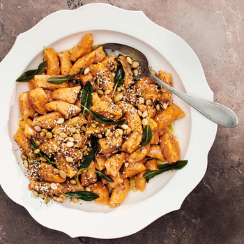 brown butter sweet potato gnocchi with seeds