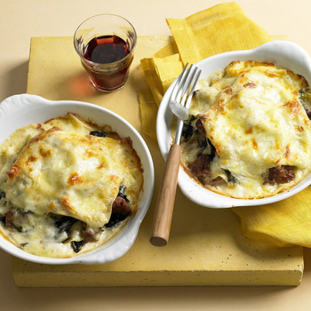 Individual Swiss Chard and Italian Sausage Lasagna