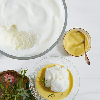 Lemony Snow Pudding with Tarragon Creme Anglaise