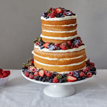 naked berry cake adorned martha bakes strawberries blueberries