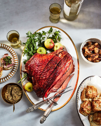 pomegranate glazed ham with jammy cipollinis