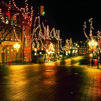 Christmas City at night in Bethlehem, PA