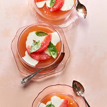Basil-Yogurt Panna Cotta with Grapefruit Gelée