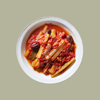 Tomato-Braised Celery With Olives