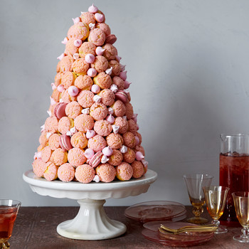 pink croquembouche pate a choux martha bakes